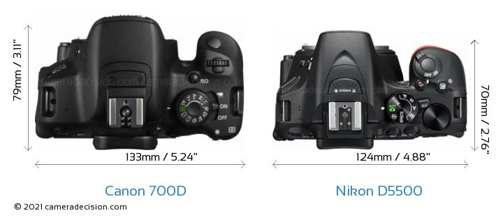 Canon 700D vs Nikon D5500 Camera Size Comparison - Top View