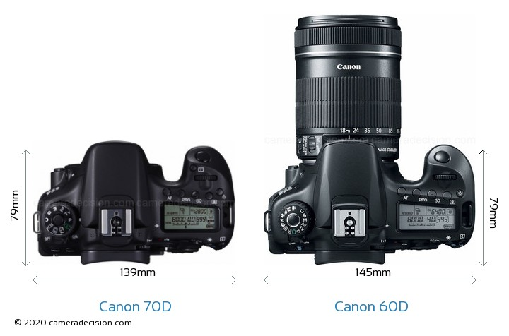 Canon 70D vs Canon 60D Camera Size Comparison - Top View