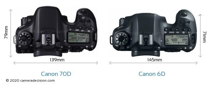 Canon 70D vs Canon 6D Camera Size Comparison - Top View