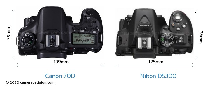Canon 70D vs Nikon D5300 Camera Size Comparison - Top View