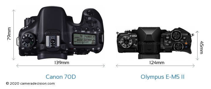 Canon 70D vs Olympus E-M5 II Camera Size Comparison - Top View