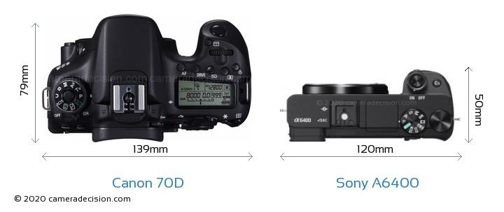 Canon 70D vs Sony A6400 Camera Size Comparison - Top View