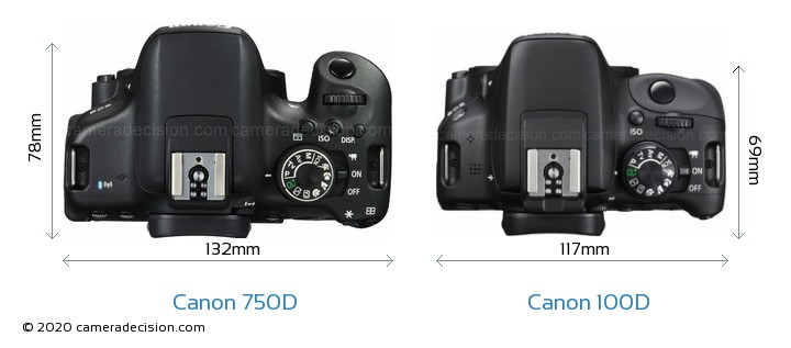 Canon 750D vs Canon 100D Camera Size Comparison - Top View