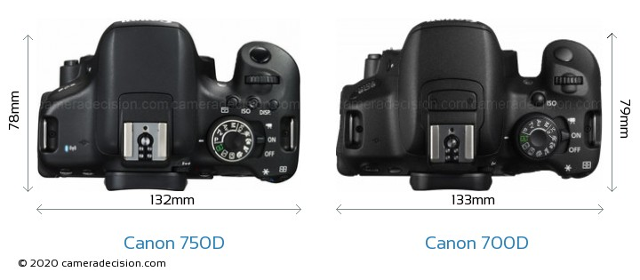 Canon 750D vs Canon 700D Camera Size Comparison - Top View