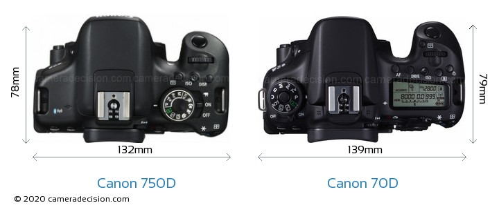 Canon 750D vs Canon 70D Camera Size Comparison - Top View
