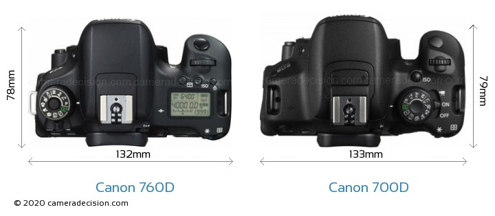 Canon 760D vs Canon 700D Camera Size Comparison - Top View