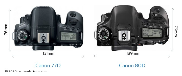 Canon 77D vs Canon 80D Camera Size Comparison - Top View