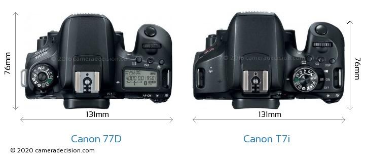 Canon 77D vs Canon T7i Camera Size Comparison - Top View