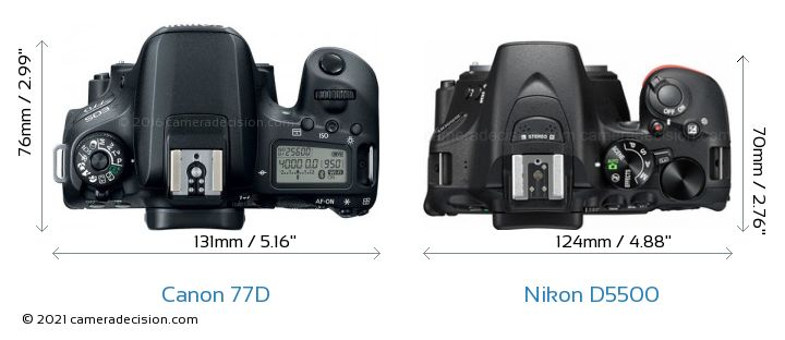 Canon 77D vs Nikon D5500 Camera Size Comparison - Top View