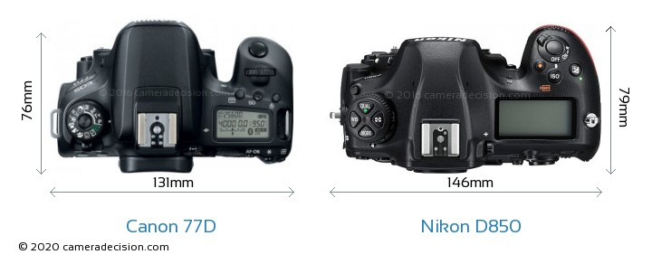 Canon 77D vs Nikon D850 Camera Size Comparison - Top View