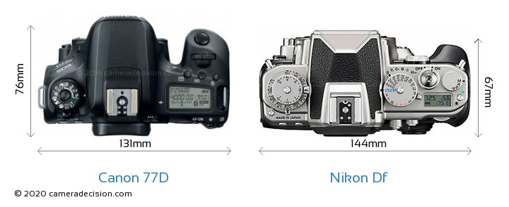 Canon 77D vs Nikon Df Camera Size Comparison - Top View