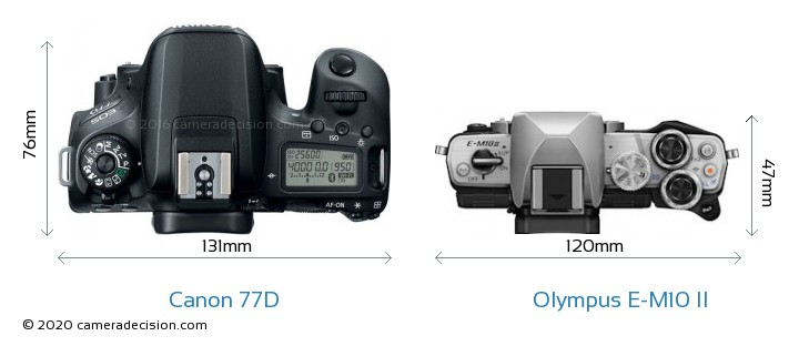Canon 77D vs Olympus E-M10 II Camera Size Comparison - Top View