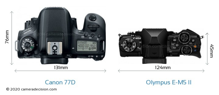 Canon 77D vs Olympus E-M5 II Camera Size Comparison - Top View