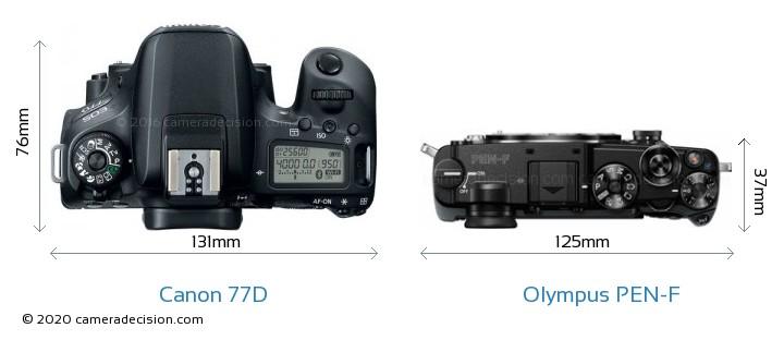 Canon 77D vs Olympus PEN-F Camera Size Comparison - Top View