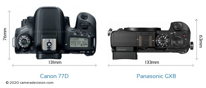 Canon 77D vs Panasonic GX8 Camera Size Comparison - Top View