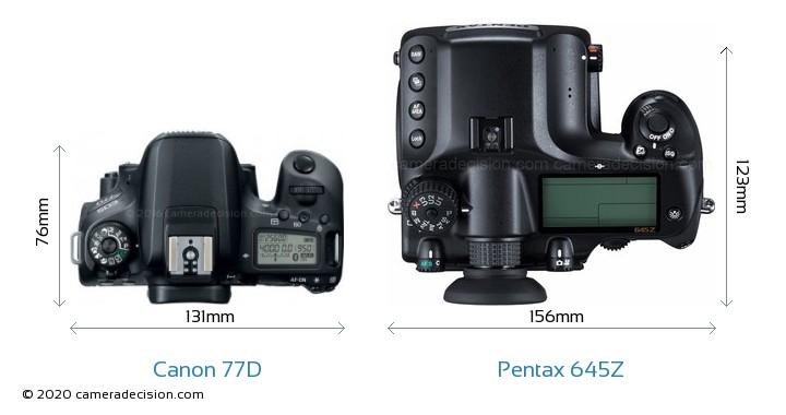 Canon 77D vs Pentax 645Z Camera Size Comparison - Top View