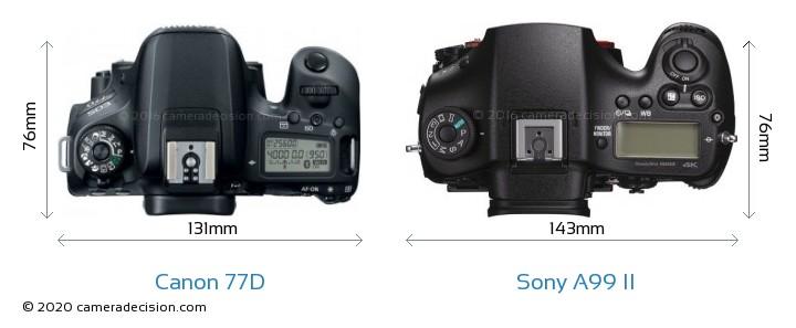 Canon 77D vs Sony A99 II Camera Size Comparison - Top View
