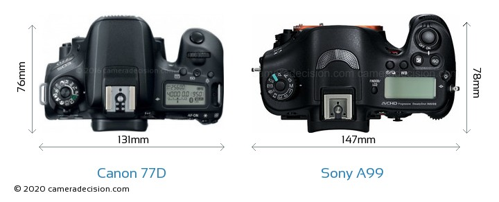 Canon 77D vs Sony A99 Camera Size Comparison - Top View