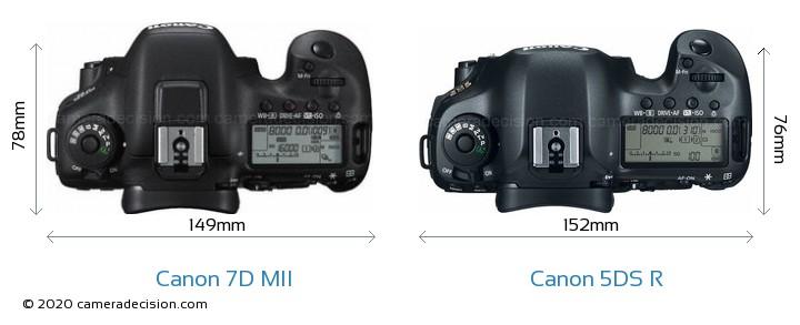 Canon 7D MII vs Canon 5DS R Camera Size Comparison - Top View
