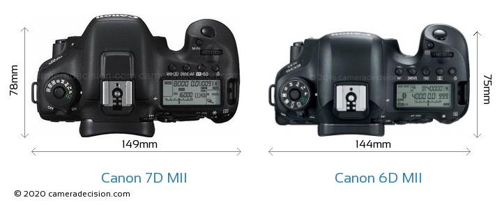 Canon 7D MII vs Canon 6D MII Camera Size Comparison - Top View