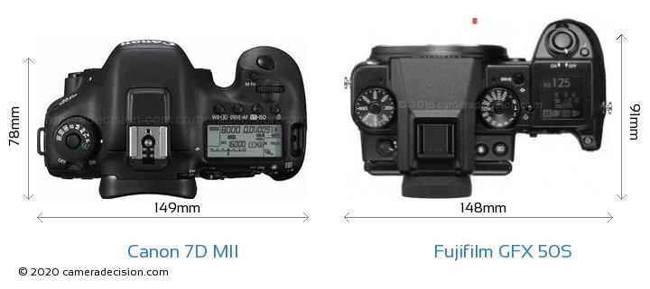 Canon 7D MII vs Fujifilm GFX 50S Camera Size Comparison - Top View