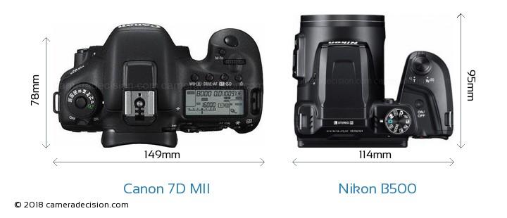 Canon 7D MII vs Nikon B500 Camera Size Comparison - Top View