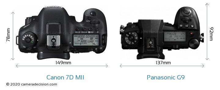 Canon 7D MII vs Panasonic G9 Camera Size Comparison - Top View