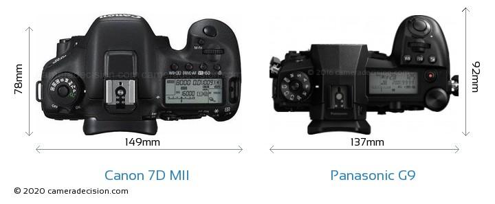 Canon 7D MII vs Panasonic G9 Camera Size Comparison - Top View