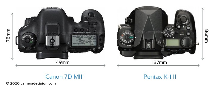 Canon 7D MII vs Pentax K-1 II Camera Size Comparison - Top View