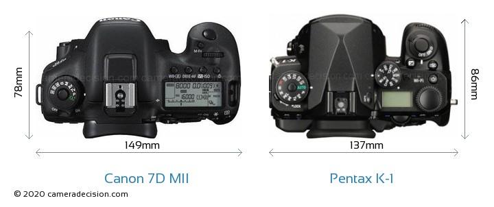 Canon 7D MII vs Pentax K-1 Camera Size Comparison - Top View