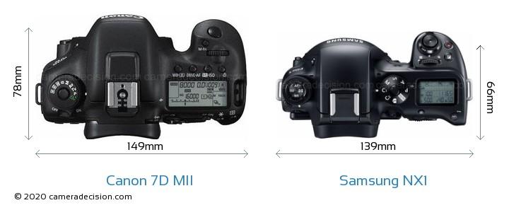 Canon 7D MII vs Samsung NX1 Camera Size Comparison - Top View