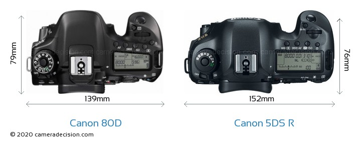 Canon 80D vs Canon 5DS R Camera Size Comparison - Top View