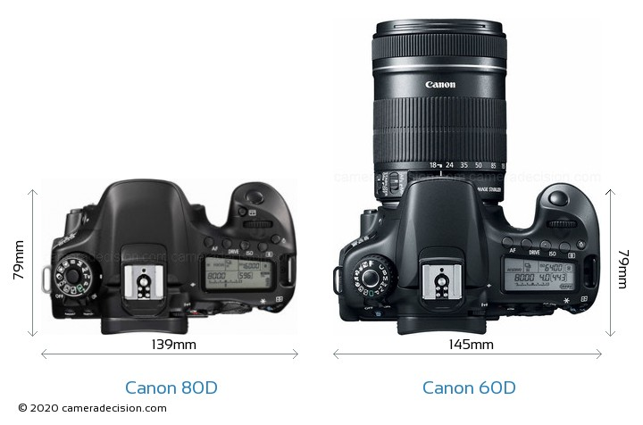 Canon 80D vs Canon 60D Camera Size Comparison - Top View
