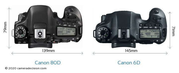 Canon 80D vs Canon 6D Camera Size Comparison - Top View
