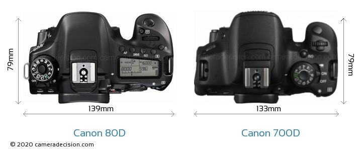 Canon 80D vs Canon 700D Camera Size Comparison - Top View