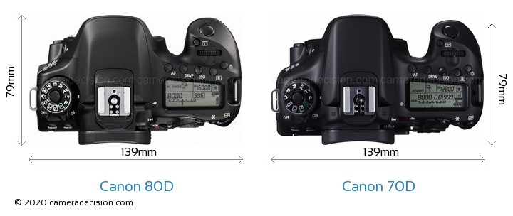 Canon 80D vs Canon 70D Camera Size Comparison - Top View