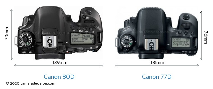 Canon 80D vs Canon 77D Camera Size Comparison - Top View