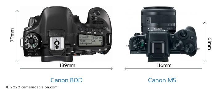 Canon 80D vs Canon M5 Camera Size Comparison - Top View