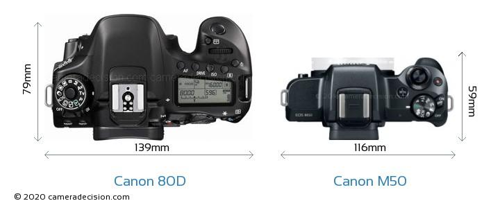 Canon 80D vs Canon M50 Camera Size Comparison - Top View