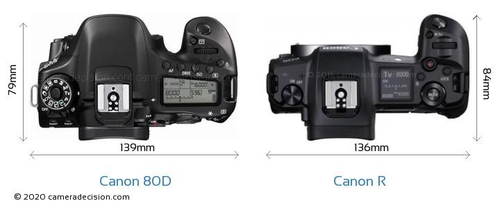 Canon 80D vs Canon R Camera Size Comparison - Top View
