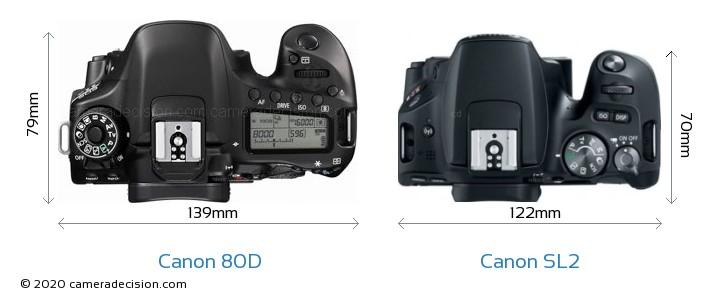 Canon 80D vs Canon SL2 Camera Size Comparison - Top View
