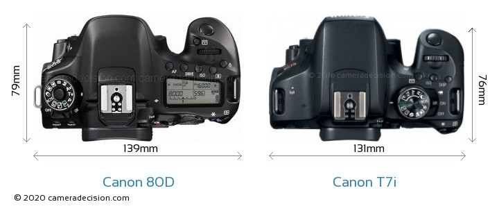 Canon 80D vs Canon T7i Camera Size Comparison - Top View