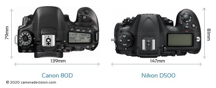 Canon 80D vs Nikon D500 Camera Size Comparison - Top View