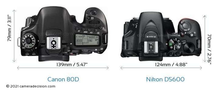 Canon 80D vs Nikon D5600 Camera Size Comparison - Top View