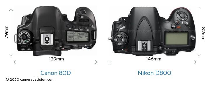 Canon 80D vs Nikon D800 Camera Size Comparison - Top View