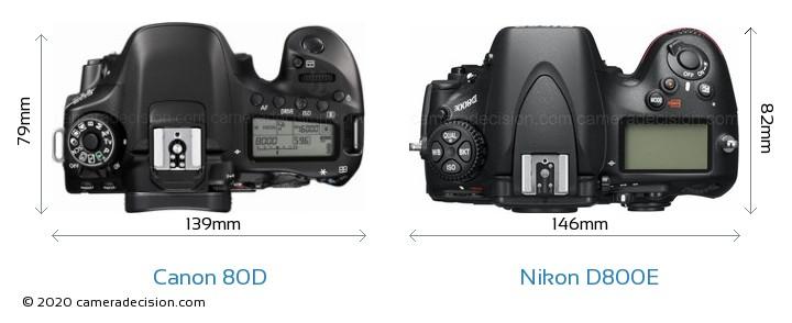 Canon 80D vs Nikon D800E Camera Size Comparison - Top View