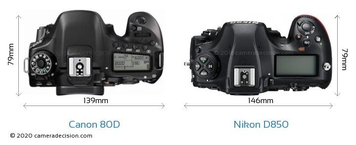 Canon 80D vs Nikon D850 Camera Size Comparison - Top View
