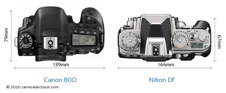 Canon 80D vs Nikon Df Camera Size Comparison - Top View