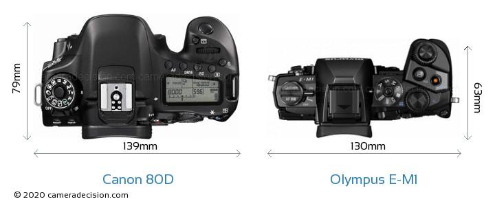 Canon 80D vs Olympus E-M1 Camera Size Comparison - Top View