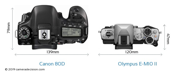 Canon 80D vs Olympus E-M10 II Camera Size Comparison - Top View